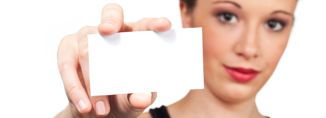 Lady with index card